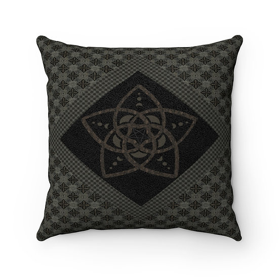 "Gothic Graffiti™ ""Fleur de Vie"" Faux Suede Square Pillow"