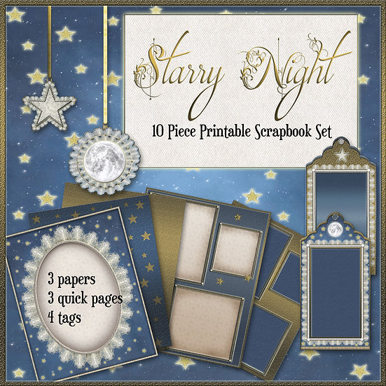 Starry Night 10 Piece Printable Gift Wrap/Scrapbook Set