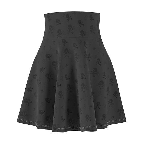 Gothic Graffiti™ Toxic Skull Shadow Gray Skater Skirt