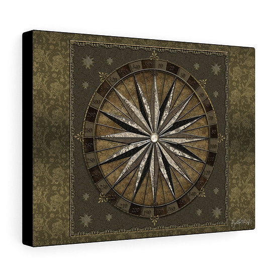"""Gothic Graffiti™ """"Nautical Star Compass"""" on Stretched Canvas"""