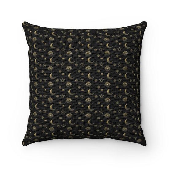 """Cosmic Golden"" Spun Polyester Square Pillow"