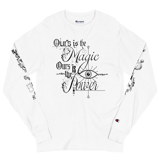 """Gothic Graffiti™ """"Ours is the Power"""" Long Sleeve Shirt-white"""