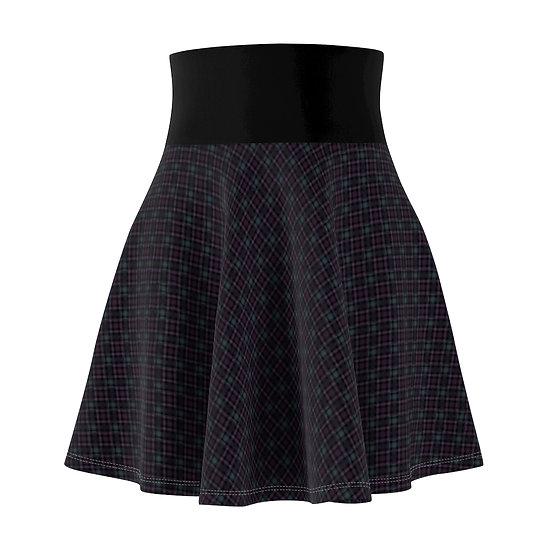 Gothic Graffiti™ Navy & Violet Diagonal Plaid Skater Skirt