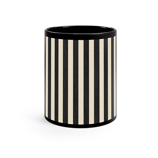 "Gothic Graffiti™ ""Vintage Striped"" Black Mug 11oz"