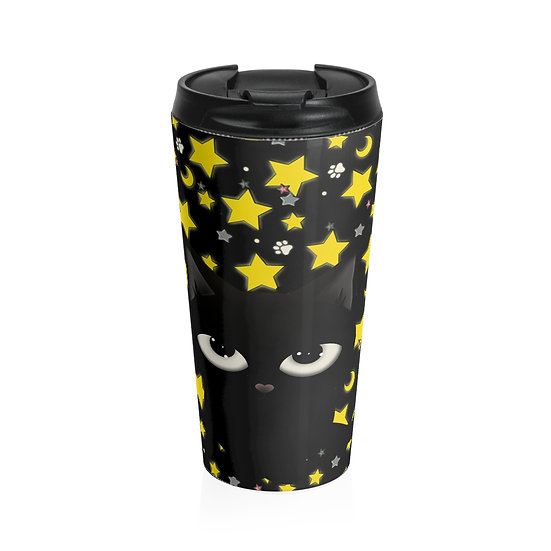 "Gothic Graffiti™ ""Kitty Majik"" Stainless Steel Travel Mug"
