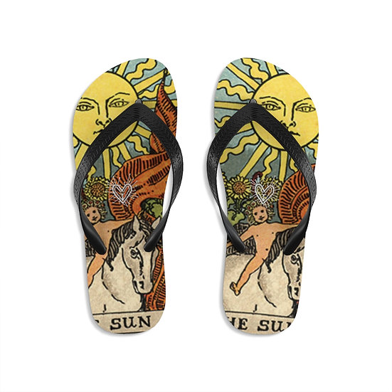 "Gothic Graffiti™ ""The Sun Tarot Card"" Unisex Flip-Flops"