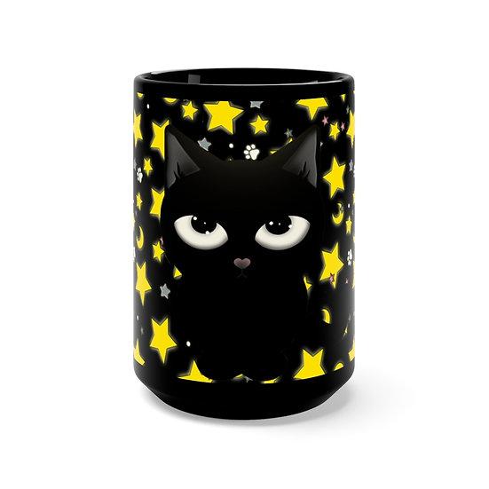 "Gothic Graffiti™ ""Kitty Majik"" Black Mug 15oz"