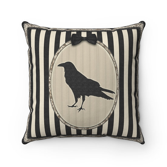 Gothic Graffiti™ Vintage Striped Raven Sampler Square Pillow