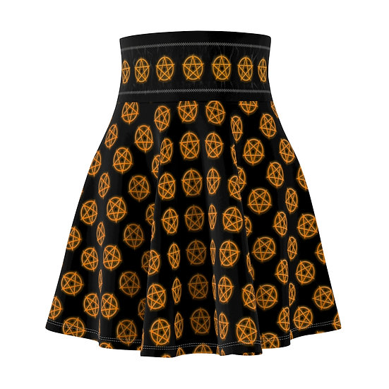 Gothic Graffiti™ Glowing Pentagram Skater Skirt (Orange)