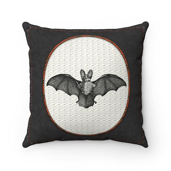 Gothic Graffiti™ Vintage Bat Square Halloween Pillow