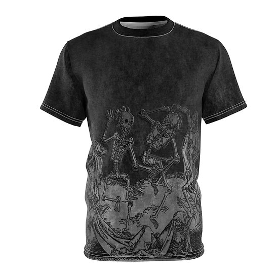 """Danse Macabre"" Unisex All over print Tee (charcoal)"