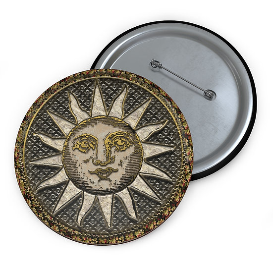 """Victorian Sun"" Button Pin"