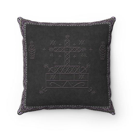 "Gothic Graffiti™ ""Baron Samedi Veve"" Spun Polyester Square Pillow"