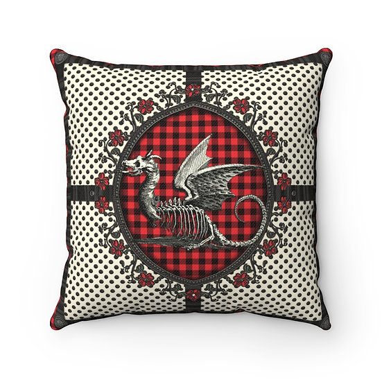 Gothic Graffiti™ Royal Plaid Dragon Square Pillow