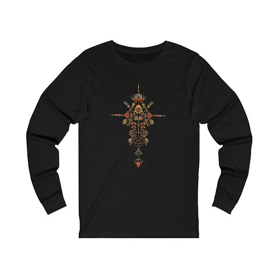 Gothic Graffiti™ Floral Hexe Colorized Unisex Jersey Long Sleeve Tee