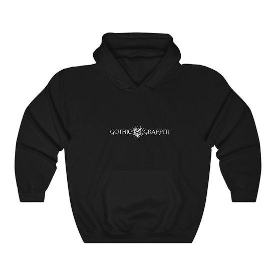 Gothic Graffiti™ Atomic Heart Logo Hooded Pullover Sweatshirt-White on black