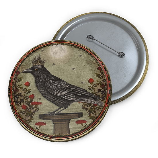 Crowned Raven Button Pin