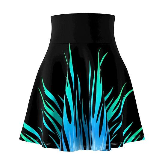 Gothic Graffiti™ Blue Flames Skater Skirt