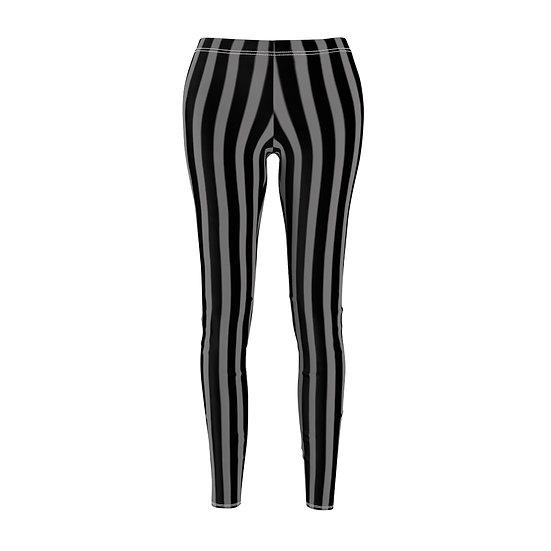 "Gothic Graffiti™ ""It's Showtime"" Vertical Stripe Leggins (black/gray)"