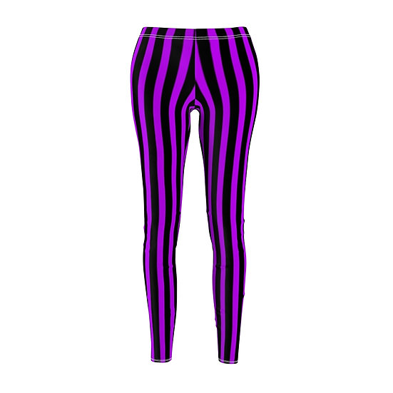 "Gothic Graffiti™ ""It's Showtime"" Vertical Stripe Leggins (black/purple)"