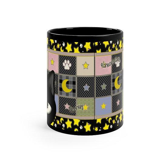"Gothic Graffiti™ ""Kitty Majik"" Black mug 11oz"