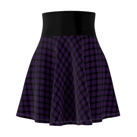 Gothic Graffiti™ Diagonal Plaid-Deep Purple Skater Skirt