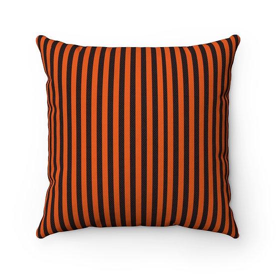 Gothic Graffiti™ Orange/Black Striped Square Halloween Pillow