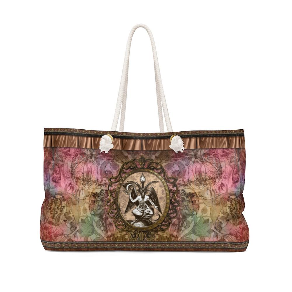 Retro Floral Baphomet Weekender Bag