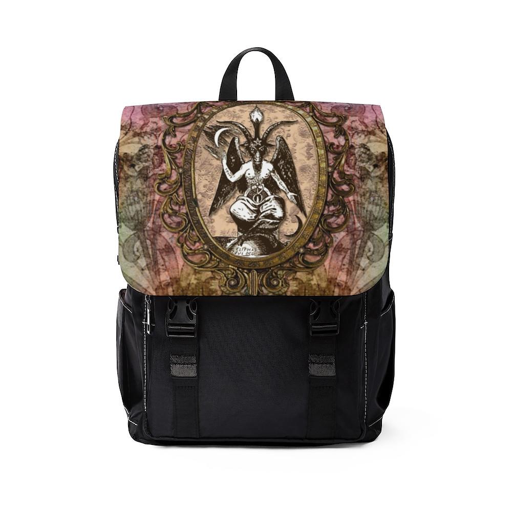 Retro Floral Baphomet Unisex Casual Shoulder Backpack