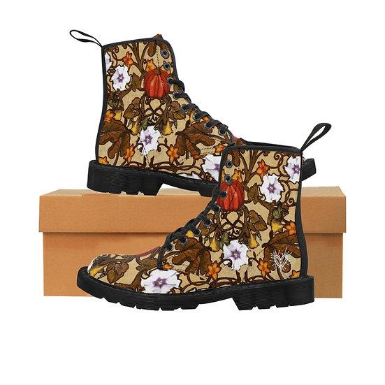"""Pumpkin Vines & Moonflowers"" Women's Canvas Boots"