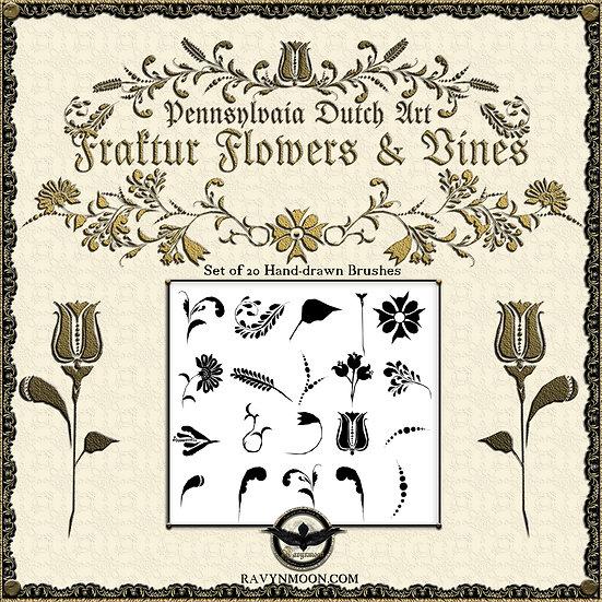 Ravynmoon Fraktur Flowers and Vines Brush Set