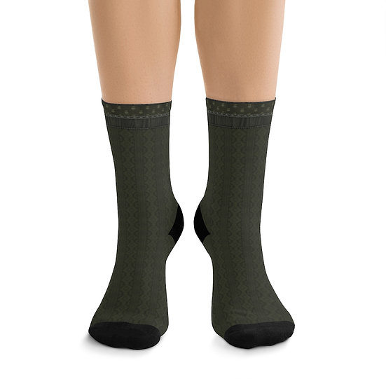 Gothic Graffiti™ Sage Illusion Knit Witchy Forest Socks