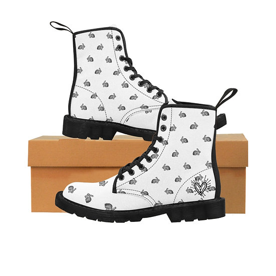 "Gothic Graffiti™ ""Sketchy Bunny"" Women's Canvas Boots"
