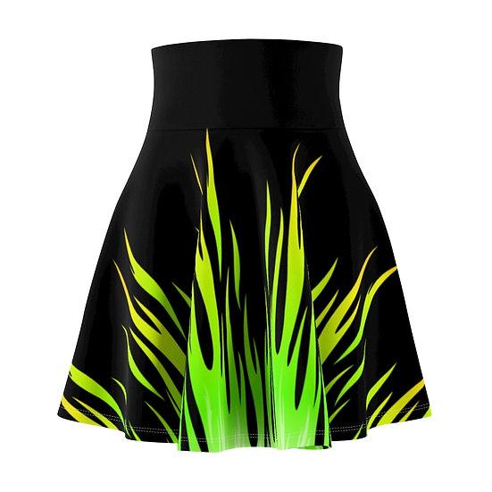 Gothic Graffiti™ Green Flames Skater Skirt