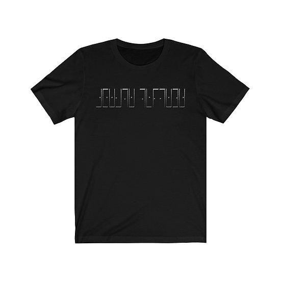 "Gothic Graffiti™ ""Create Thyself"" Cipher Unisex T-shirt (liquid mercury)"