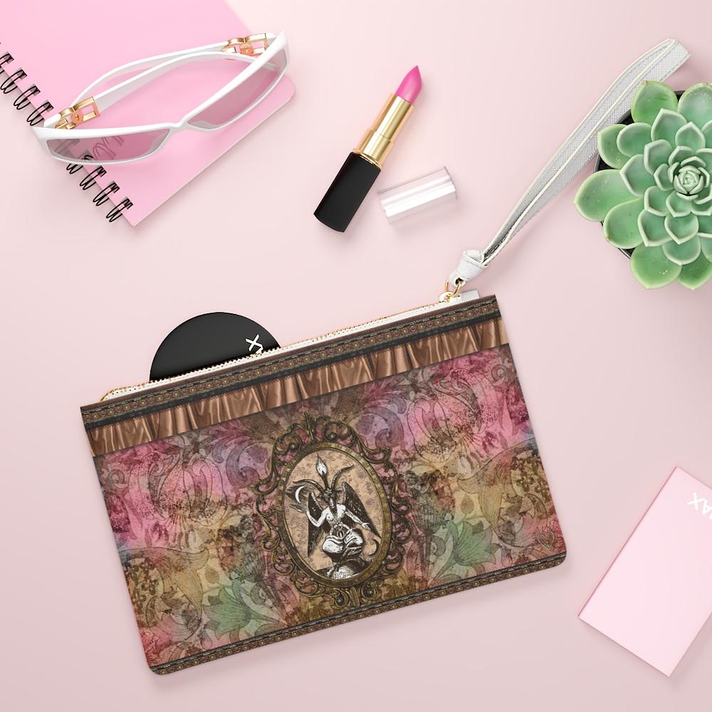 Retro Floral Baphomet Clutch Bag