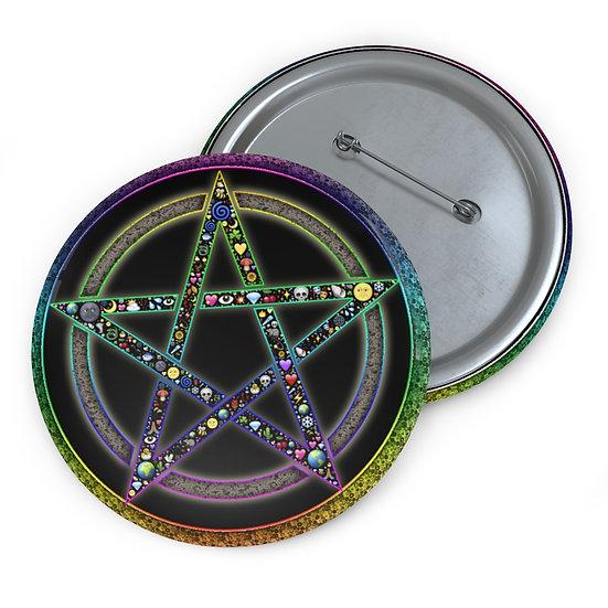 Gothic Graffiti™ Rainbow Pentagram Button Pin