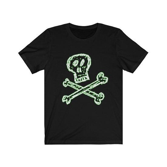 "Gothic Graffiti™ ""Memento Mori"" Death's Head Unisex T-shirt (green glow)"