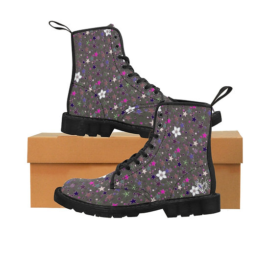 """Starflower"" Neon Pink stars Women's Canvas Boots"