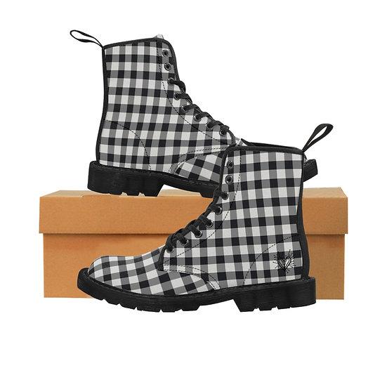 "Gothic Graffiti™ ""Gothic Gingham"" Women's Canvas Boots"