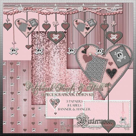 Patchwork Hearts 13 Piece Printable Gift Wrap/Scrapbook Set