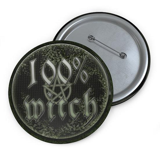 "Gothic Graffiti™ ""100% Witch"" Button Pin"