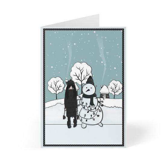 "Gothic Graffiti™ ""Goth Snowman"" Greeting Cards"