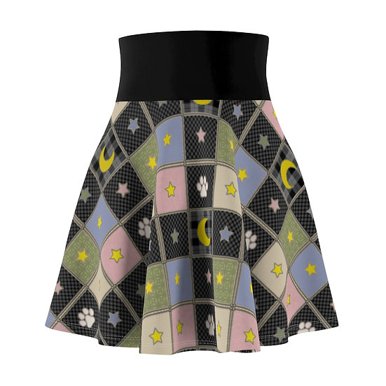 """Gothic Graffiti™ """"Kitty Majik"""" Patchwork Inspired Skater Skirt"""