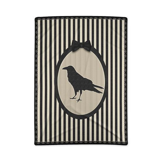 Gothic Graffiti™ Vintage Stripe Raven Blanket