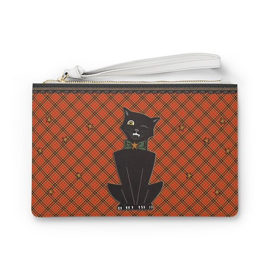 Vintage Winking Halloween Cat Clutch Bag - Vegan
