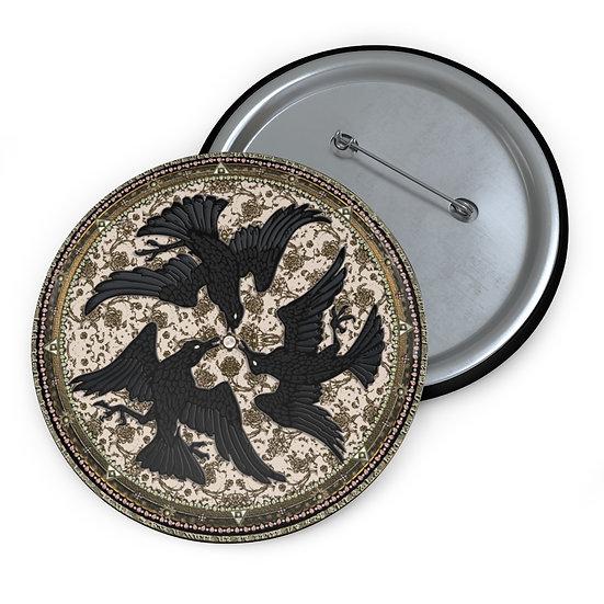 """3 Ravens"" Talismanic Button Pin"