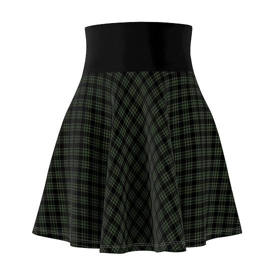 Gothic Graffiti™ Diagonal Plaid-Sage Skater Skirt