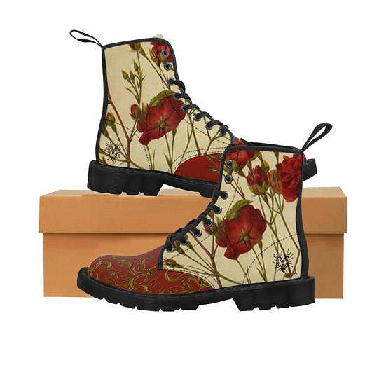"Gothic Graffiti™ ""Wild Roses"" Men's Canvas Boots"