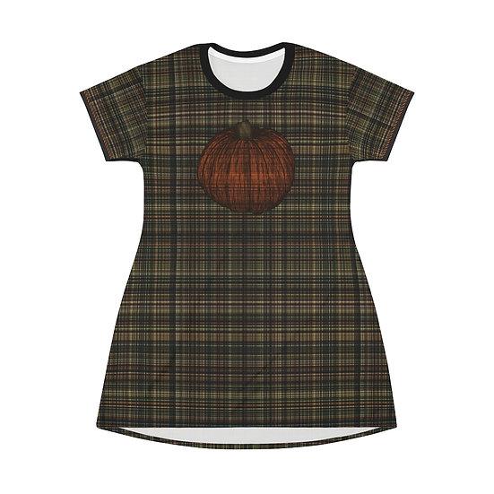 Gothic Graffiti™ Pumpkin Patch Plaid T-Shirt Dress